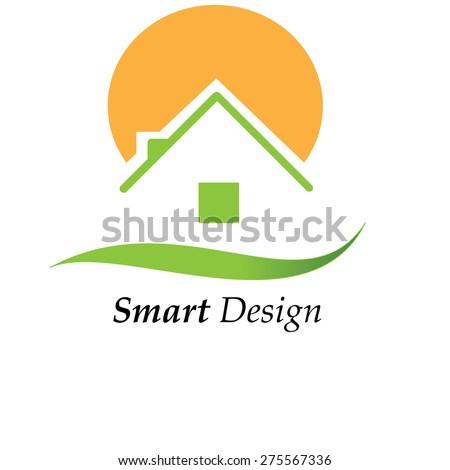 Green house with sun vector - stock vector