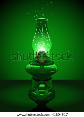Green hurricane lantern with holiday bow and sparks