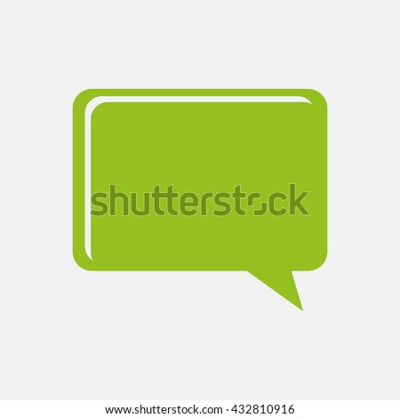 Green icon of Comments Or Speech Bubble on Light Gray background. Eps-10.