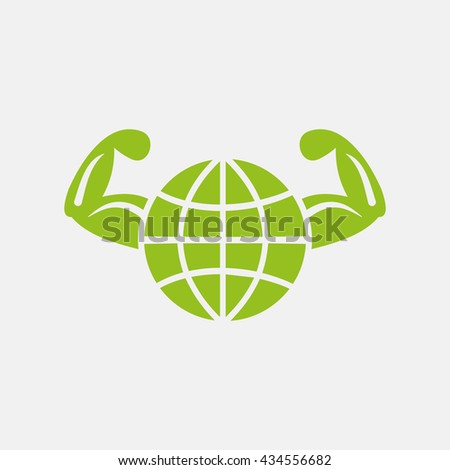 Green icon of Healthy World or Globe & hand on Light Gray background. Eps-10. - stock vector