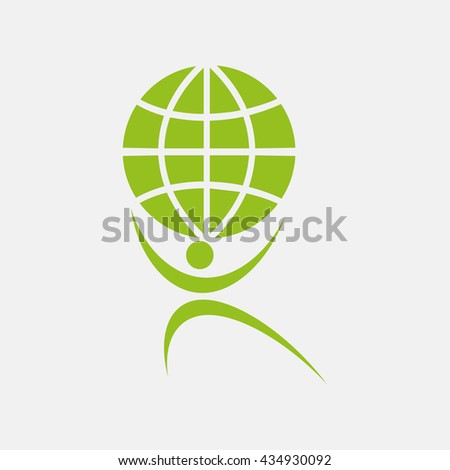 Green icon of Man With Globe on Light Gray background. Eps-10. - stock vector