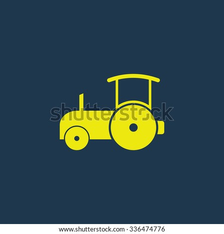 Green icon of Road Roller on dark blue background. Eps.10 - stock vector