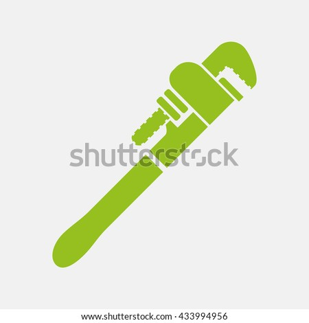 Green icon of Wrench on Light Gray background. Eps-10.