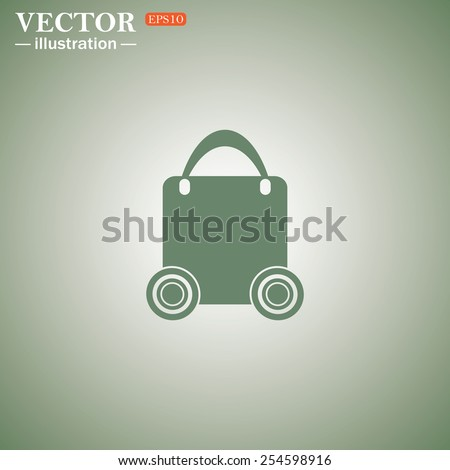 Green icon on a green background. bag on wheels , vector illustration, EPS 10