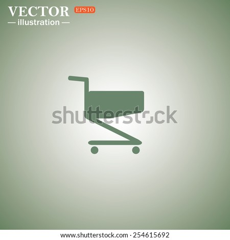 Green icon on a green background. Shoping basket , vector illustration, EPS 10