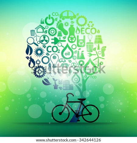 Green icons concept design and save world background, vector illustration - stock vector