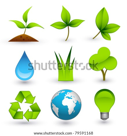 Green icons on white background - stock vector