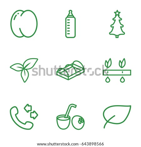 Green icons set. set of 9 green outline icons such as peach, baby bottle, call, greenohuse, leaf, christmas tree, drink coconut