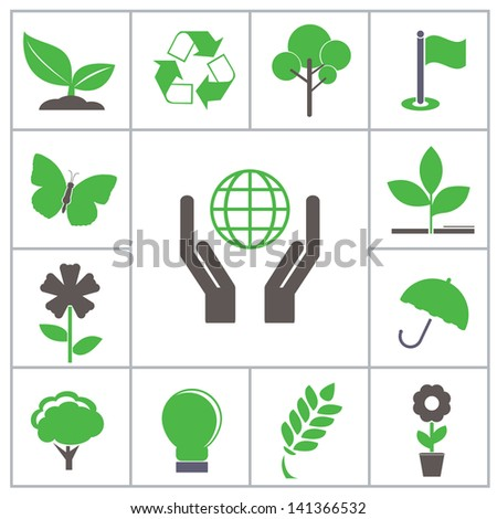 Green icons. Vector set for you design
