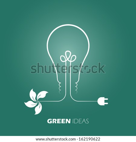 Green ideas innovation, Eco bulb energy. Easy color change vector design. - stock vector