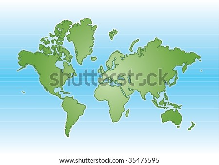 Green Illustrated world map with blue background - stock vector