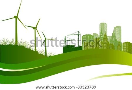 green illustration with wind turbines and city - stock vector