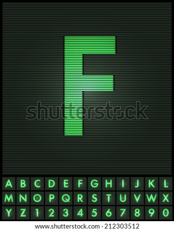 Green interlaced letters and numbers font set - F