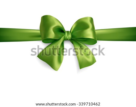 green isoated vector silky bow on on a white background - stock vector