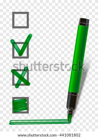 green isolated marker highlighter pen with checklist, tick and underline. Vector marker exam pen - stock vector