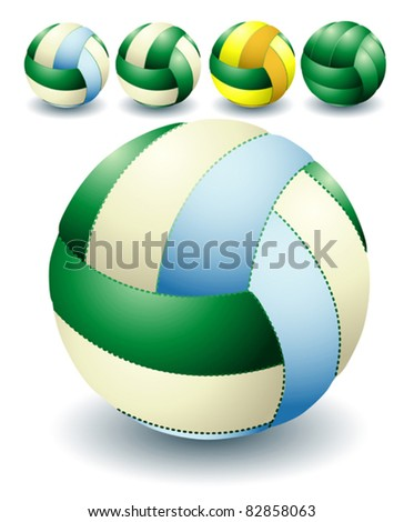 Green isolated volleyballs - stock vector