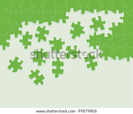 Green jigsaw puzzle vector background with space for text - stock vector