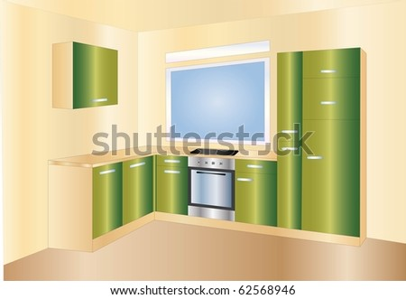green kitchen ( background on separate layer ) - stock vector