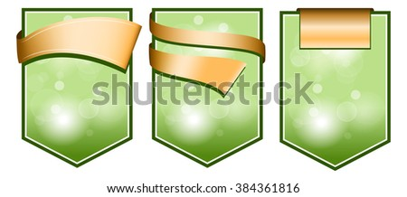 Green label with ribbon - stock vector
