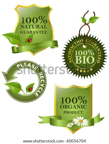 Green labels, vector illustration. - stock vector
