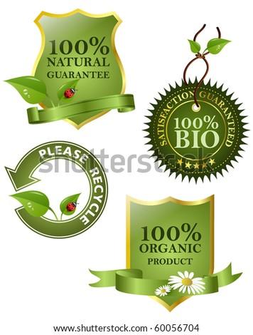 Green labels, vector illustration. - stock vector