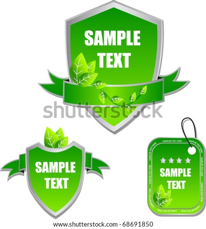 green labels with ribbons