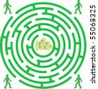 Green labyrinth with mans and money - stock vector