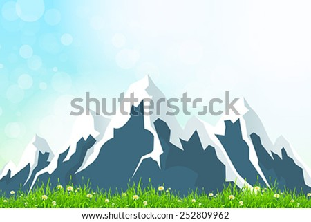 Green Landscape Background with Mountains - stock vector