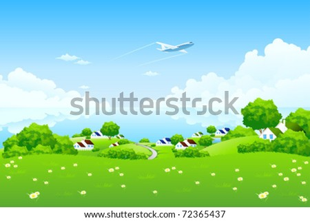 Green Landscape with aircraft clouds water and houses - stock vector