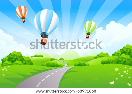 Green Landscape with Balloons clouds and mountains - stock vector