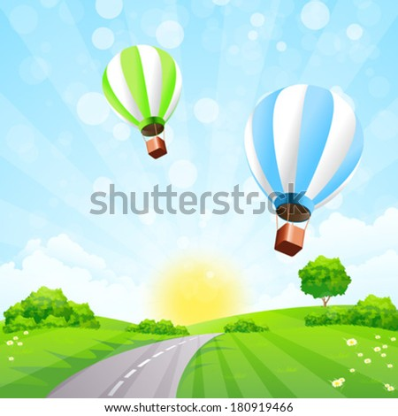 Green Landscape with Balloons clouds and Sun - stock vector