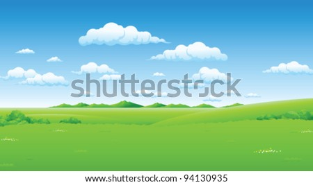 Green landscape with blue sky - stock vector