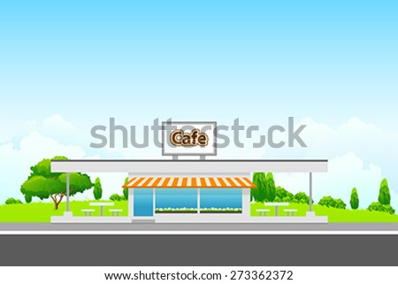 Green Landscape with cafe building and clouds - stock vector
