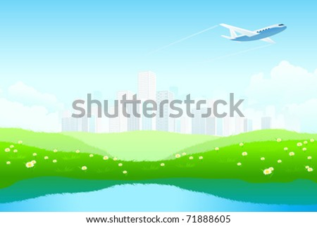 Green Landscape with City, aircraft, lake and flowers - stock vector