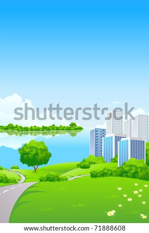 Green Landscape with City lake and trees - stock vector