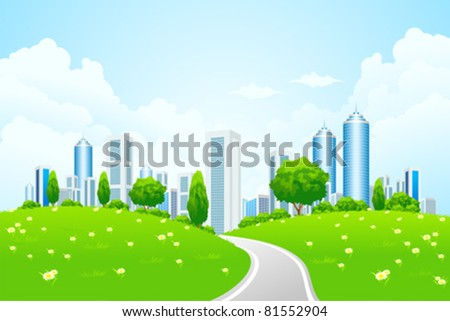 Green landscape with city road and trees - stock vector