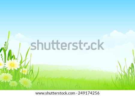 Green Landscape with clouds flowers and Grass - stock vector