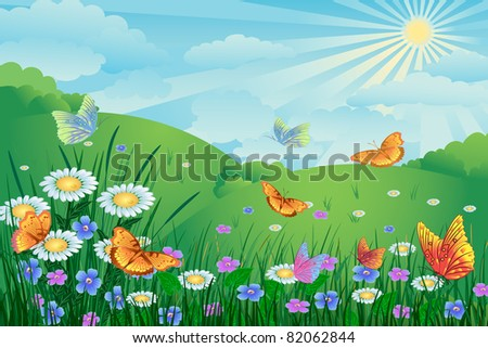 green landscape with flowers and butterflies - stock vector