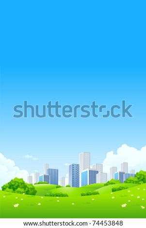 Green landscape with flowers city and clouds - stock vector