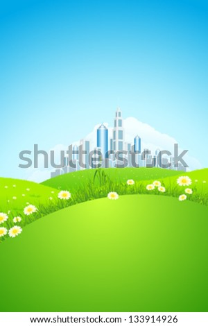 Green landscape with grass, flowers, city and clouds