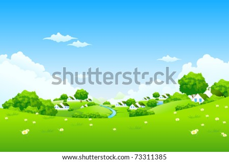Green Landscape with houses clouds flowers and trees - stock vector