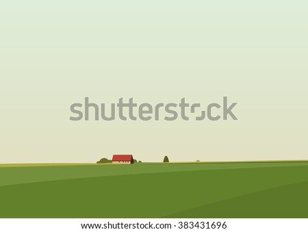 Green landscape with lonely house located on the horizon. Vector illustration. - stock vector