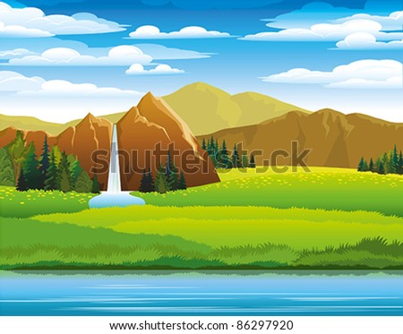 Green landscape with meadow, mountains and waterfall on a cloudy sky background - stock vector