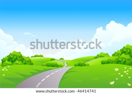 Green landscape with road trees and clouds - stock vector