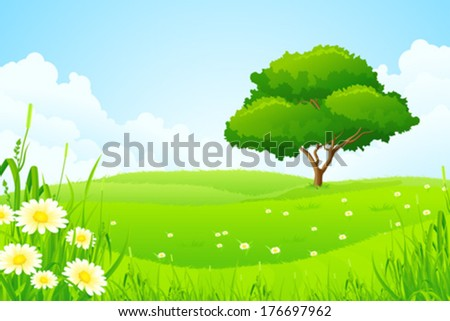 Green Landscape with Tree Clouds and Flowers - stock vector
