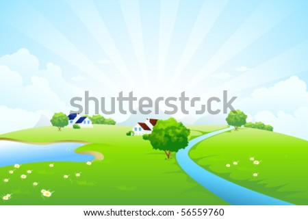 Green landscape with tree lake river house mountains clouds and rays - stock vector