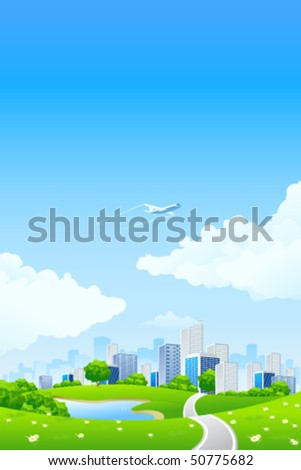 Green landscape with tree lake road city and clouds - stock vector