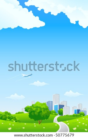 Green landscape with tree road city and clouds - stock vector