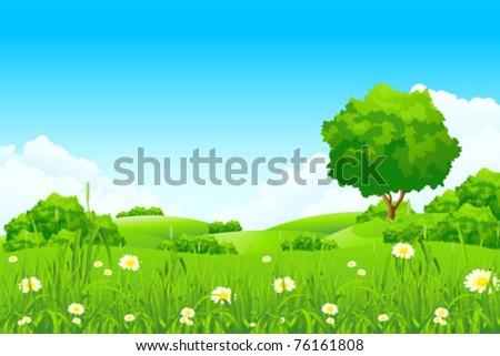 Green landscape with  trees and clouds - stock vector
