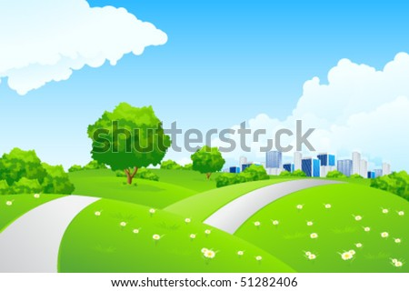 Green landscape with trees and road. Summer landscape scene with cloudy sky. Vector Illustration. - stock vector